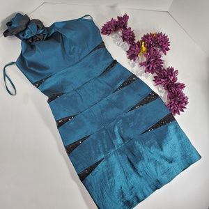 Aspeed Teal and Black Sequin Cocktail Dress
